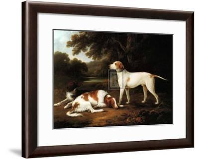 Pointer and Two Spaniels in a Park-Charles Henry Schwanfelder-Framed Art Print