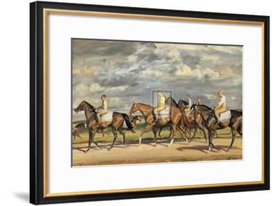 Exercising, Early Morning, Newmarket-Alfred James Munnings-Framed Art Print