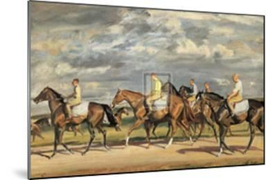 Exercising, Early Morning, Newmarket-Alfred James Munnings-Mounted Art Print