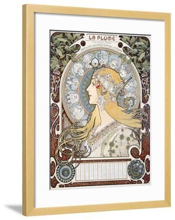 Zodiac le Plume-Alphonse Mucha-Framed Giclee Print