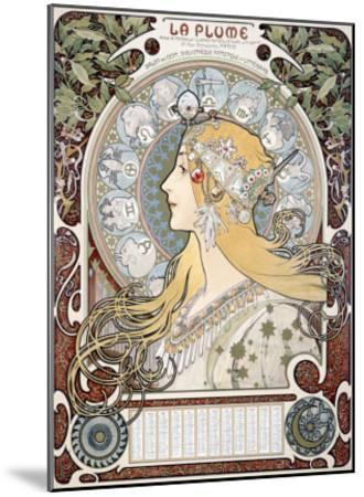 Zodiac le Plume-Alphonse Mucha-Mounted Giclee Print