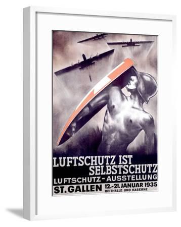 Luftschutz ist Selbstschutz-Otto Baumberger-Framed Giclee Print