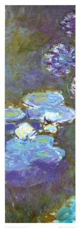 Water Lilies and Agapanthus (detail)-Claude Monet-Framed Art Print