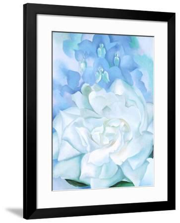 White Rose W/ Lakspur No.2-Georgia O'Keeffe-Framed Art Print