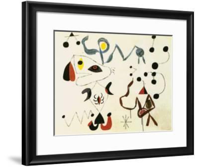 Femmes et Oiseau la Nuit, 1945-Joan Mir?-Framed Art Print