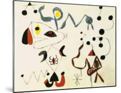 Femmes et Oiseau la Nuit, 1945-Joan Mir?-Mounted Art Print