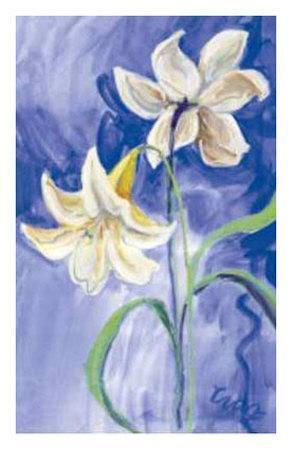 Flores Blancas Fondo Azul-Cruz-Framed Art Print