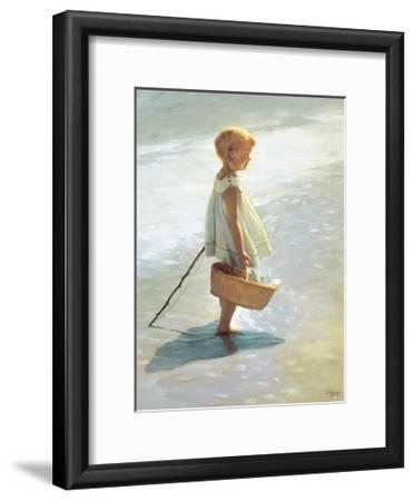 Young Girl on a Beach-I^ Davidi-Framed Art Print