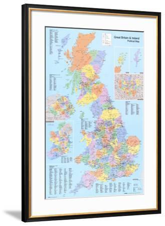 U.K. Political Map--Framed Poster