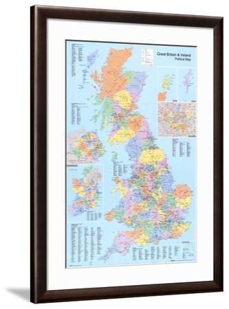U K  Political Map Lamina Framed Poster by | Art com