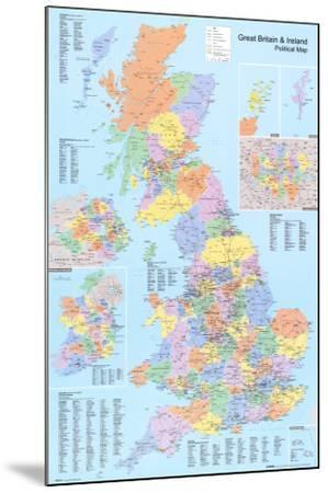 U.K. Political Map--Mounted Poster