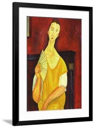 Woman with a Fan-Amedeo Modigliani-Framed Art Print
