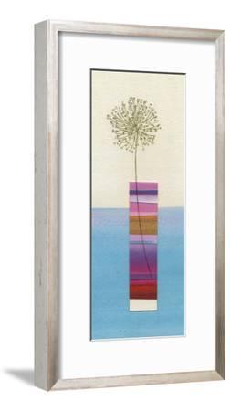 Stripy Vase and Dandelion-Nicola Gregory-Framed Art Print