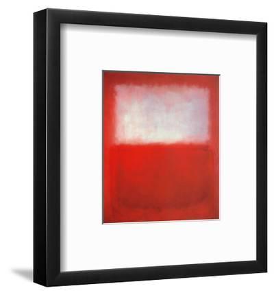 White over Red-Mark Rothko-Framed Art Print