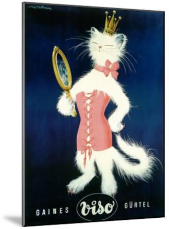 Cat and Cosmetic Mirror--Mounted Giclee Print