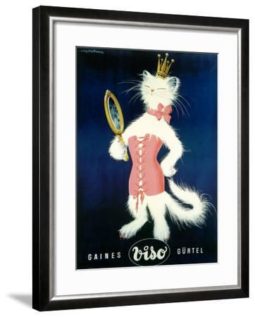 Cat and Cosmetic Mirror--Framed Giclee Print