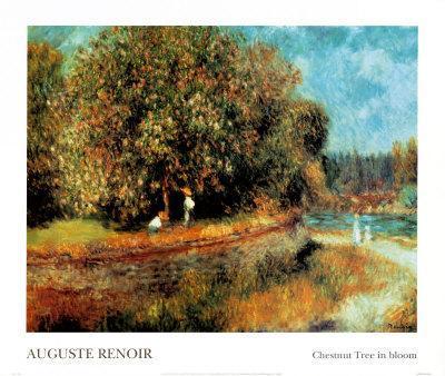 Chestnut Tree in Bloom-Pierre-Auguste Renoir-Framed Art Print