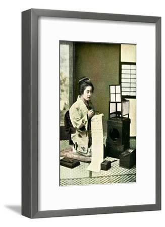 Japanese Geisha Writing Letter--Framed Giclee Print