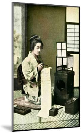 Japanese Geisha Writing Letter--Mounted Giclee Print