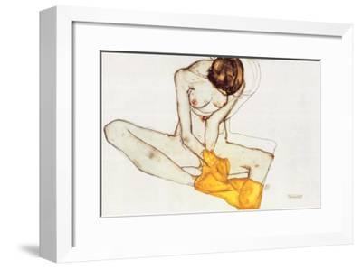 Girl with Yellow Scarf-Egon Schiele-Framed Art Print