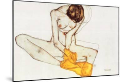 Girl with Yellow Scarf-Egon Schiele-Mounted Art Print