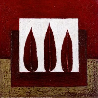 3 Red Feathers-Pascale Nesson-Framed Art Print