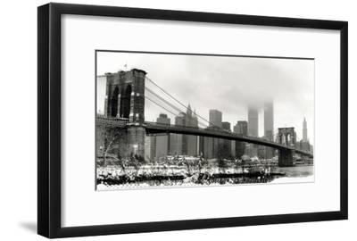 Brooklyn Bridge in Snow-Igor Maloratsky-Framed Art Print