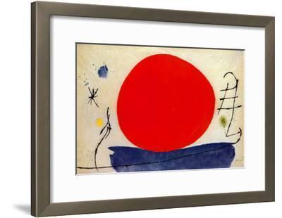 The Red Sun-Joan Miro-Framed Art Print