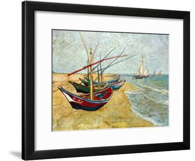 Fishing Boats on the Beach at Saints-Maries, c.1888-Vincent van Gogh-Framed Art Print