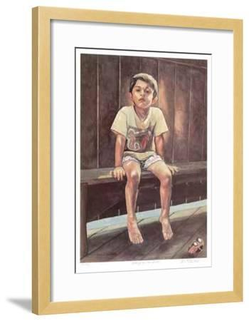 Sitting on the Bench-Neville Clarke-Framed Limited Edition