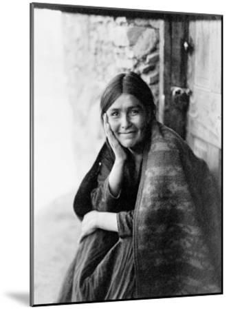 Young Girl Smiling-Edward S^ Curtis-Mounted Giclee Print