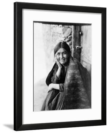 Young Girl Smiling-Edward S^ Curtis-Framed Giclee Print