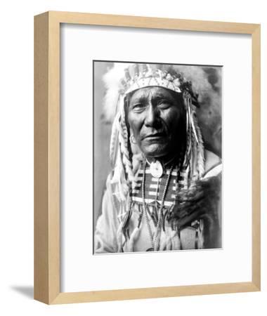 Nez Perc Head Dress-Edward S^ Curtis-Framed Giclee Print