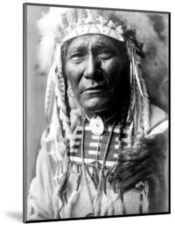 Nez Perc Head Dress-Edward S^ Curtis-Mounted Giclee Print