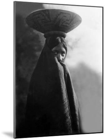 Maricopa Girl with Basket-Edward S^ Curtis-Mounted Giclee Print