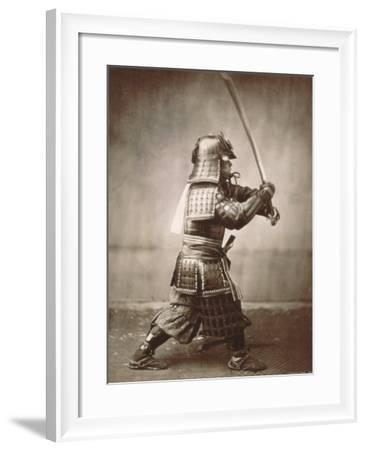 Samurai Brandishing Sword--Framed Art Print