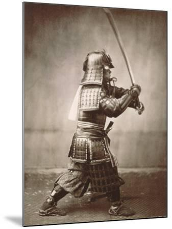 Samurai Brandishing Sword--Mounted Art Print