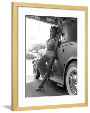 Pin-Up Girl: 1932 Deuce Coupe Garage-David Perry-Framed Giclee Print