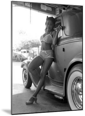 Pin-Up Girl: 1932 Deuce Coupe Garage-David Perry-Mounted Giclee Print
