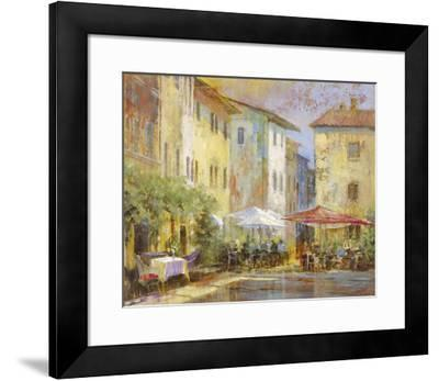 Courtyard Cafe-Michael Longo-Framed Art Print