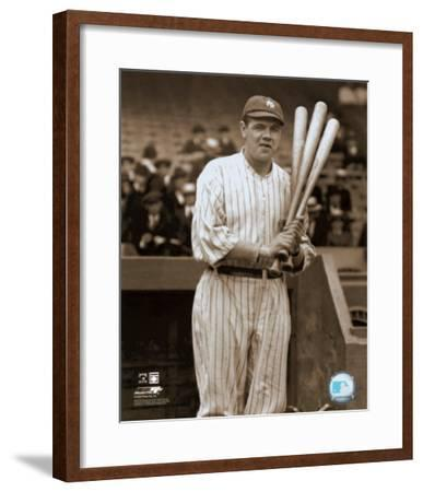 Babe Ruth - with 3 bats - ©Photofile--Framed Photo