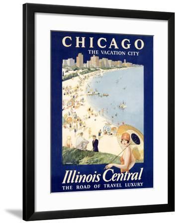 Chicago Illinois Central Train--Framed Giclee Print
