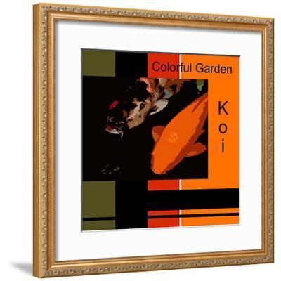 Colorful Garden Koi-erichan-Framed Giclee Print