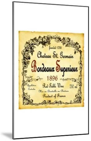 Bordeaux Wine Label--Mounted Giclee Print