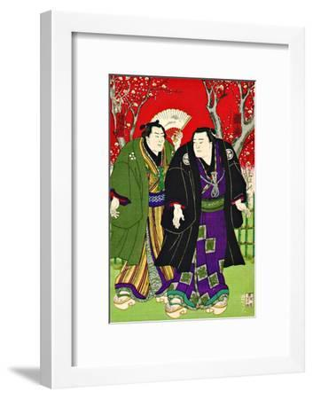 Sumo Wrestlers Strolling Under Cherry Blossoms--Framed Giclee Print