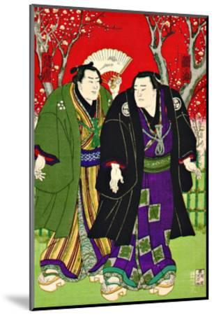 Sumo Wrestlers Strolling Under Cherry Blossoms--Mounted Giclee Print