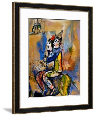 Two Clowns on a Horse-Back-Marc Chagall-Framed Art Print