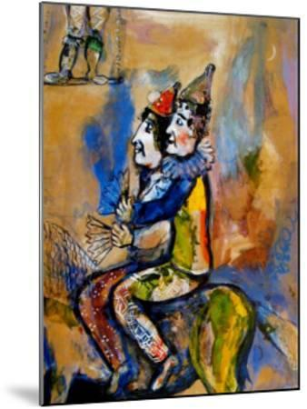 Two Clowns on a Horse-Back-Marc Chagall-Mounted Art Print
