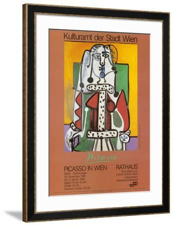 Woman Seated on a Green Chair-Pablo Picasso-Framed Art Print