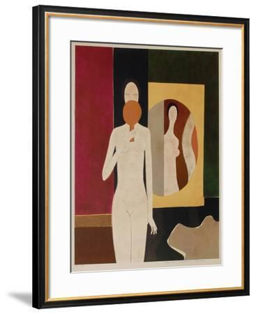 Femme au miroir-Andr? Minaux-Framed Premium Edition